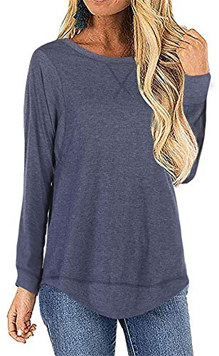 MISSLOOK Women's Casual Long Sleeve Split Loose T Shirt High Low Hem Tunic Top Blouse Navy X-Large