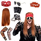 SPECOOL Rockstar 90s Heavy Metal Rocker Costume Punk Gothic Kit 70s 80s 90s with Wig, Punk...