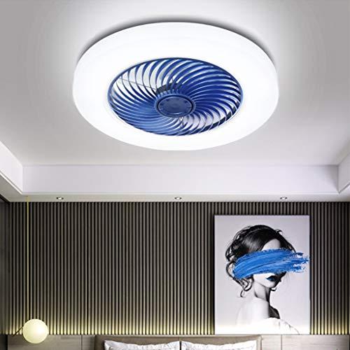 LED Unsichtbarer Deckenventilator Fan Deckenleuchte Moderne Fan Deckenlampe 72W Dimmbar Mit Fernbedienung Für Wohnzimmer Lampe Schlafzimmer Kinderzimmer Leise Fan Beleuchtung Kann Timing,Blau