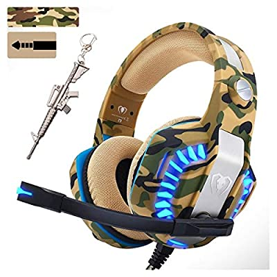 Camo Pro Stereo Gaming Headset for PS4 Xbox One PC, All-Cover Over Ear Headphones Deep Bass Surround Sound with360° Noise Canceling Mic & LED Light for Nintendo Switch Mac Laptop