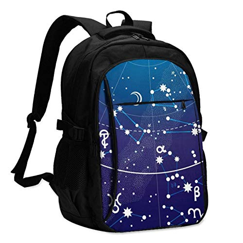 XCNGG Astronomy Geometry Astrology Travel Laptop Backpack with USB Charging Port Multifunction Work School Bag