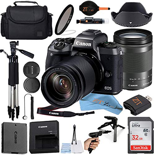 Canon EOS M50 Mirrorless Digital Camera (Black) with18-150mm Zoom Lens + Sandisk 32GB Card, Tripod, Camera Case and ZeeTech Accessories (21pc Bundle) (SanDisk 32GB Bundle)