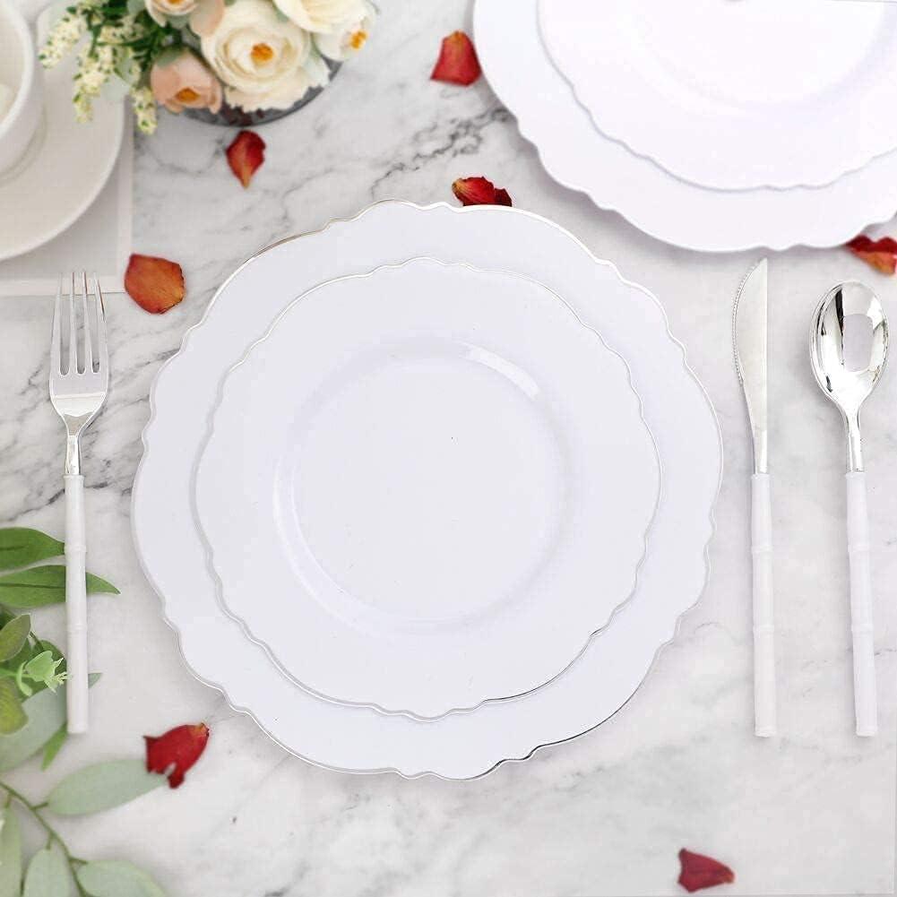 Sale price WDF 100pcs Silver Plates-90Pieces Silverw Plastic Ranking TOP5