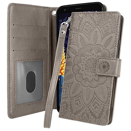 Harryshell Kickstand Flip PU Leather Protective Wallet Case Cover with Card Slots Wrist Strap for LG K30 2019 / LG Escape Plus/LG Journey LTE/LG X2 2019 / LG Arena 2 (Grey)