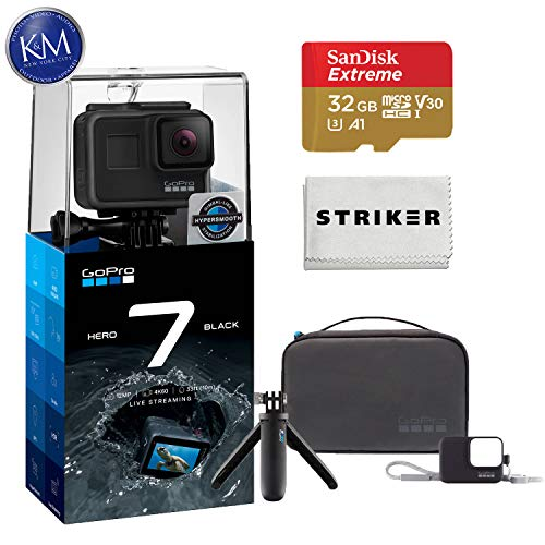 GoPro Hero 7 (Black) Action Camera with GoPro Travel Kit Essential Bundle: Includes – Shorty, Sleeve and Lanyard, and Case.