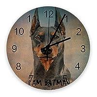 掛け時計 犬 ペット 木の板 水彩画 壁掛け時計 掛時計 静音 clock サイレント 壁時計 部屋 リビング 玄関 インテリア コンパクトサイズ 電池式 木掛け鐘 大数字 円形 贈り物 直径 30cm