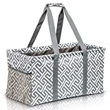 Extra Large Utility Tote Bag - Oversized Collapsible Reusable Wire Frame Rectangular Canvas Basket With Two Exterior Pockets For Beach, Pool, Laundry, Car Trunk, Storage - Geo Grey