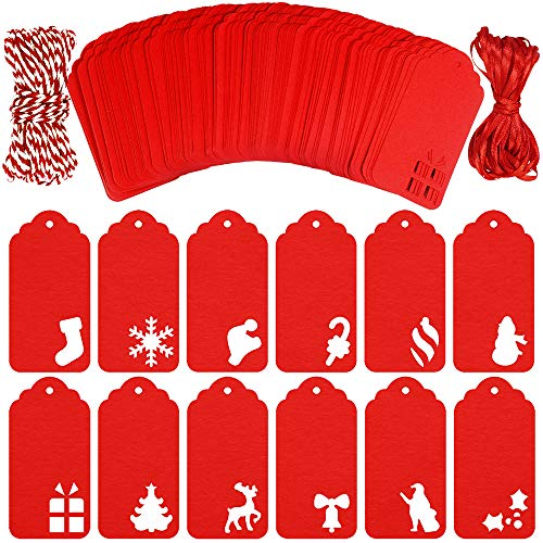 Winlyn 168 pcs 12 Designs Christmas Red Gift Wrap Tags Bulk Hanging Blank Paper Tags Holiday Party Favor Tags in Assorted Hollow Designs with Twine and Ribbon for Christmas Gifts Wedding Favors Crafts