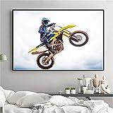 Surfilter Motocicleta Pósters e impresiones Racing Art Motorcycle Rider Sport Canvas Pintura Pintura de la pared para la decoración de la sala de estar 60x90cm 24x36 pulgadas sin marco