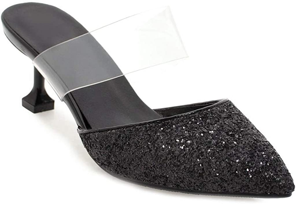 JOEUSTY Women's Pointed Toe Kitten Bombing new work shop Heel Sandals Clear Low Mules