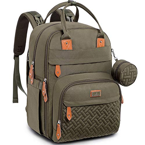Baby Changing Bag Backpack, BabbleRoo Nappy Changing Back Pack Diaper Bags with Changing Mat & Pacifier Holder for Mom & Dad (Army Green)
