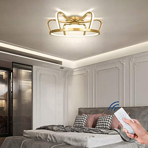 Dagea Moderno Dormitorio Lámpara de Techo, Creativo Lujo Corona LED Redondo Lámpara de Techo 40W con Remoto Control de atenuación para Sala Estudiar Cuarto de los niños Encendiendo Ø46CM,Azul