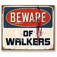 警告ウォーカーに注意してくださいウォーキングデッドレトロメタルブリキサインプラークポスター壁の装飾アートみすぼらしいシックなギフト-20x30cm