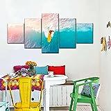 Laimi Lienzo decorativo para pared, 5 piezas, moderno, abstracto, para pared, con marco, ilustraciones en lienzo para decoración de oficina en casa