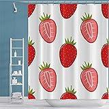 OFila Erdbeer-Duschvorhang süßes frisches Obst Erdbeeren schönes rotes Beerenmuster Boho Aquarell Malerei Duschvorhang für Mädchen Home Campers Badezimmer Dekor Badewanne Wasserdicht 183 x 183 cm