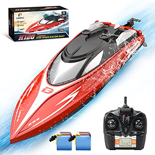 DEERC H120 RC Boat Remote Control Boats for Pools and Lakes,20+ mph 2.4 GHz Fast Racing Boats for Kids and Adults with 2 Rechargeable Battery,Low Battery Alarm,Capsize Recovery,Gifts for Boys Girls