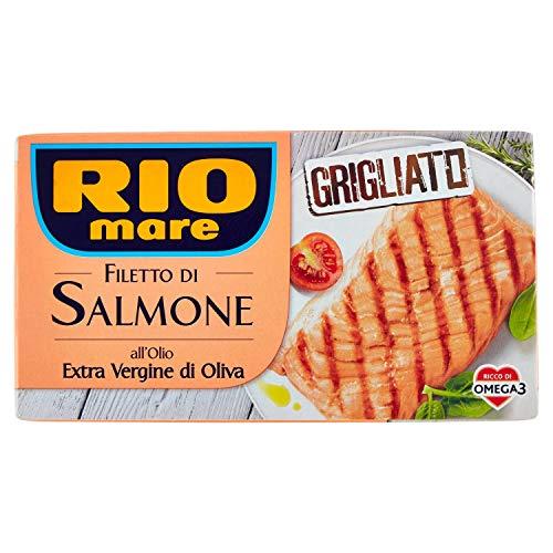 Rio Mare Filetto di Salmone Grigliato con Olio Extravergine di Oliva, Ricco di Omega 3, 1 Confezione da 125g