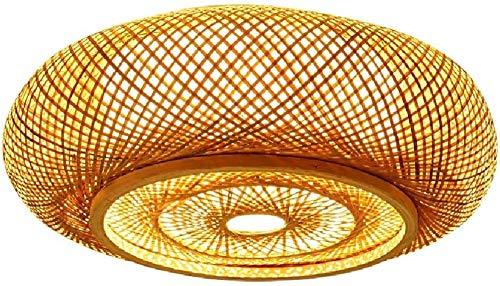 Lámpara de Techo Semi empotrada de bambú Retro Pantalla de bambú Tejida a Mano Restaurante Sala de Estar Dormitorio Salón Café Club Iluminación de Techo E27 Iluminación de Ahorro de energía Perfe