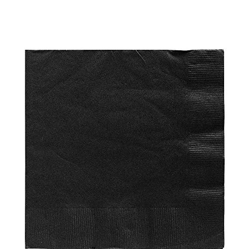 Big Party Pack Jet Black Luncheon Napkins, Pack of 125, Party Supply