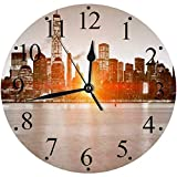 Reloj de Pared Moderno,Viajes Luz del Sol Scenic Lower Manhattan Anochecer Cielo Nuevo Tarde Ciudad de York Rascacielosreloj de Cuarzo de Cuarzo Redondo No-Ticking para Sala de Estar 30 cm