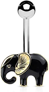 14 Gauge Black Enamel Colored Elephant Belly Button/Navel Ring Gold IP 316L Surgical Steel