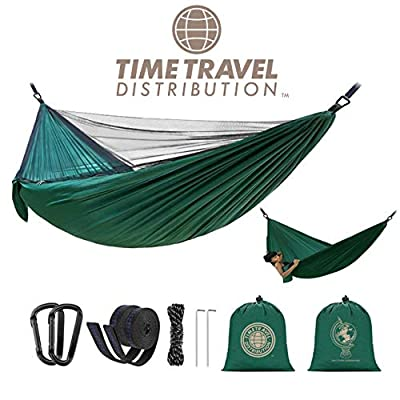 Time Travel Distribution Camping Hammock with Mosquito Net - Outdoor Travel, Hiking, Beach, Backpacking, Parachute Nylon Lightweight, Portable, Easy Assembly, Max Capacity 700lbs