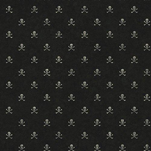 York Wallcoverings Brothers and Sisters V Skull & Crossbones Removable Wallpaper, Black/White