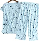 Women's Pajama Set - Cotton-Blend Short-Sleeve Loose Top with Matching Capri Bottoms SY215-Blue Star-L