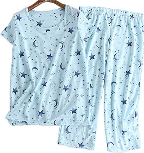 Women's Pajama Set - Cotton-Blend Short-Sleeve Loose Top with Matching Capri Bottoms SY215-Blue...