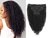 Jiarosi Kinky Curly Clip in Hair Extensions,3C 4A Afro Kinky Curly Clip ins,Thick 8A Brazilian Soft Remy Hair Lace Weft Curly Human Hair Clip in for Woman, 1B Black Color,10Pcs/Set,120 Gram(18)