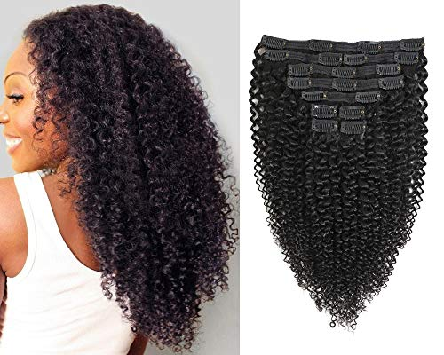 Jiarosi Kinky Curly Clip ins Hair Extensions, 16 inch 3C 4A Afro Curly Hair Clip ins, Soft 8A Brazilian Remy Hair Lace Weft Clip in Curly Human Hair for Woman, 1B Black Color,10Pcs/Set,120 Gram(16)
