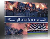 Ultras Hamburg, Bild auf Leinwand XL, fertig gerahmt, 80 x