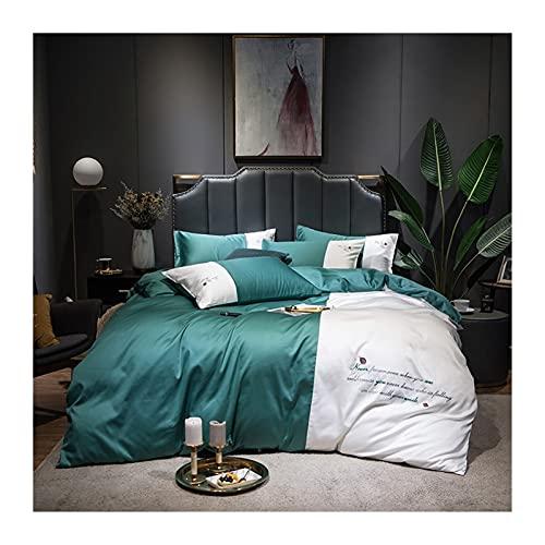 High-end Påslakanset 200x220/220x240 Satin Påslakan Vuxen Säng, Sängkläder Sängöverdrag, Örngott Dubbelsäng Påslakan Set Passar För Dubbel King Size (Color : Green, Size : 200x230-150x200cm)
