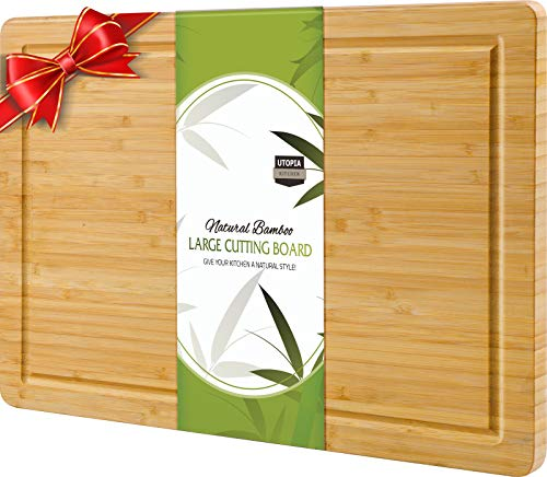 Utopia Kitchen Extra Large Organic Bamboo Cutting Board (17 x 12 inch) - Cutting Boards for Meat and...