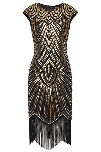 Babeyond - Vestido de charlestón con estilo de los años 20, del Gran Gatsby, con flecos y cuello en V -  -  XXX-Large