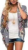 JFAN Mujer Chal Flojo Cárdigan Kimono Florales Caftán de Playa Blusa de Gasa Boho con Estampado Floral Ahumado Blusa Floral Suelta Casual(Oscuro Gris Floral,M)