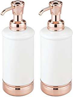 mDesign Modern Metal Refillable Liquid Soap Dispenser Pump Bottle for Bathroom Vanity Countertop, Kitchen Sink - Holds Hand Soap, Dish Soap, Hand Sanitizer, Essential Oils - 2 Pack - White/Rose Gold