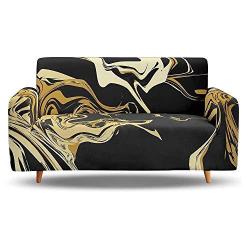 Tanboank Sofabezug 1 2 3 4 Sitzer Sofa,Schwarz, Gold, Künstlerische Textur Sofa Hussen Stretch Sofa überzug Ecksofa Stretch Sofahusse Couch Cover I Form Sofaüberwurf L Form 90-140 cm