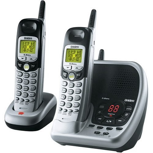 Uniden DXAI5588-2 5.8 GHz Analog Cordless Phone with Dual Handsets (Silver and Black)