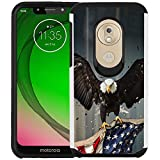 Motorola Moto G7 Power Hülle, Moto G7 Supra Hülle, Dual Layer Stoßfest Bumper Schutzhülle Handyhülle, American Bald Eagle Fliegen mit Fahne