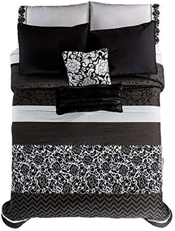JORGE'S HOME FASHION Pretty Collection Vintage Black White Teens Girls Reversible Comforter Set 6 PCS Queen Size