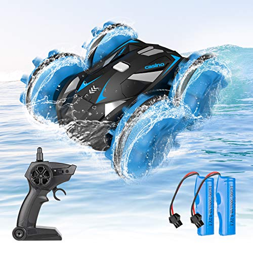 SHARKOOL Amphibious RC Car for Kids 2.4 GHz Remote Control Boat Waterproof RC Monster Truck Stunt Car 4WD Vehicle Girls Gifts