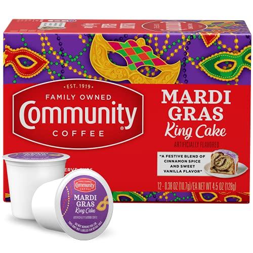 Community Coffee Mardi Gras King Cake Flavored Medium Roast Single Serve K-Cup Coffee Pods, Box of 12 Pods