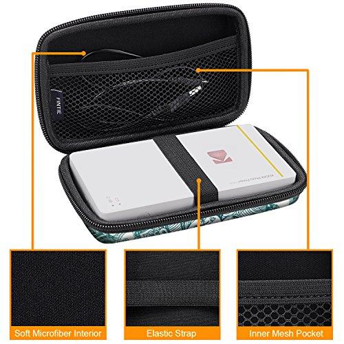 Fintie Carry Case for Kodak Mini/Mini 2 HD Photo Printer/Mini Shot 2 in 1 Camera & Printer - Hard EVA Shockproof Storage Portable Travel Bag with Inner Pocket/Removable Strap, Emerald Illusions
