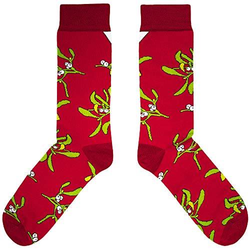 CUP OF SOX Baumwolle Lustige Socken in der Pappbecher - Perfekt als Geschenk für Männer und Frauen - Mistelzweig / Weihnachten / Mistel (37-40, Rot)