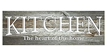 Kitchen The Heart of The Home Rustic Wood Wall Sign 6x18  Gray
