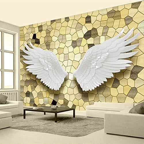 AMTTGOYY Papel tapiz fotográfico 3D Alivio Alas de ángel Mosaico Mural de pared Pintura Sala de estar TV Fondo Decoración para el hogar Papel tapiz-400x280cm