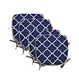 Pcinfuns Indoor/Outdoor All Weather Chair Pads Seat Cushions Garden Patio Home Chair Cushions, 17' X 16' (Navy Blue(4 Set))