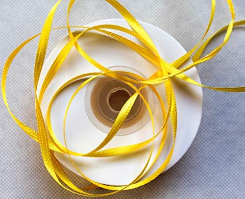 CaPiSo® 100m Satinband 3mm Schleifenband,Geschenkband,Dekoband,Satin Hochzeit,Weihnachten (Gelb, 100m 3mm)