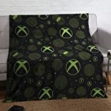 Coco Moon Xbox Sphere Green Gaming Bed Fleece Blanket Bedding Ideal Boys or Teen Gamer Bedroom Accessories Gifts Present